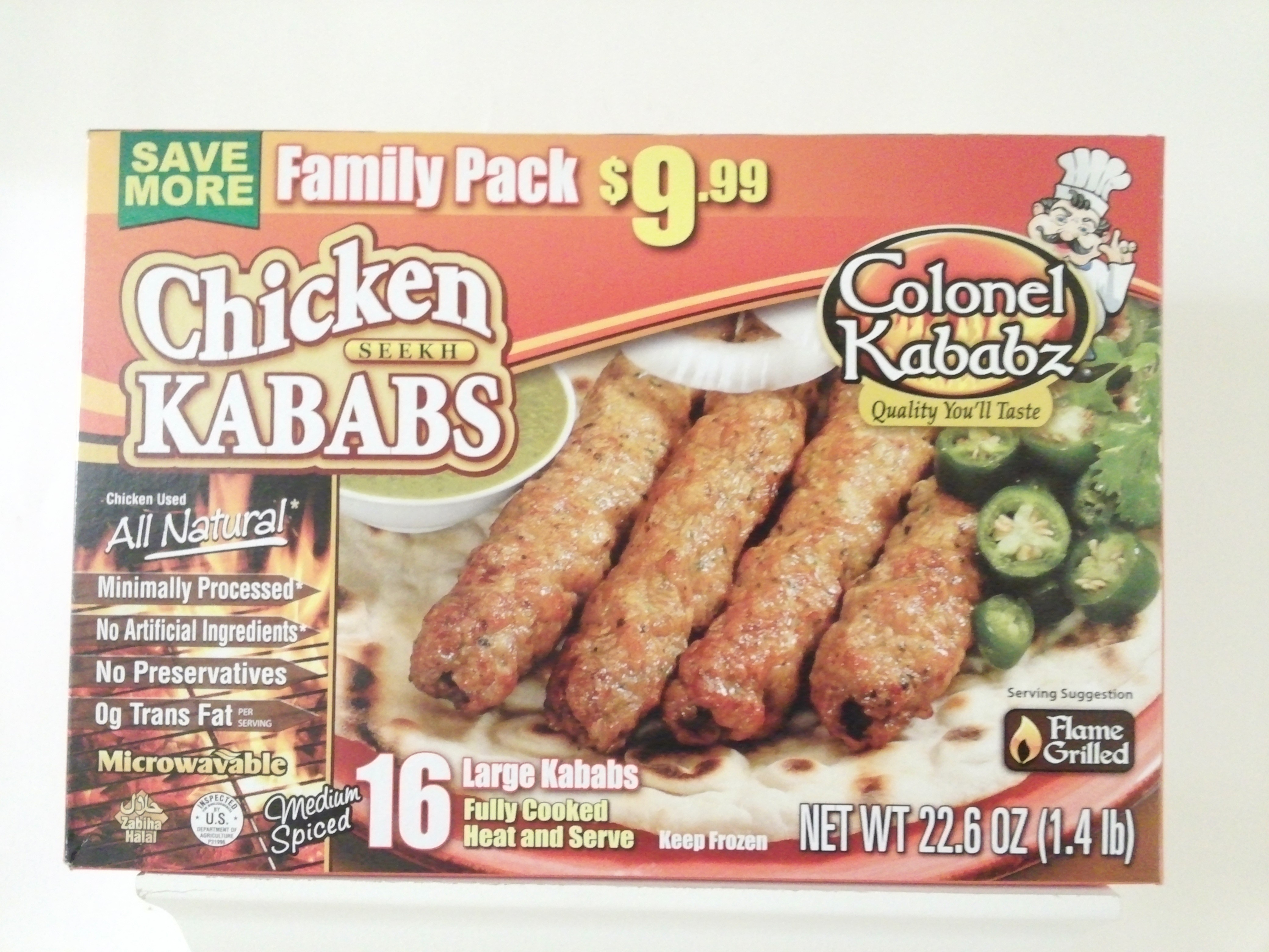 Colonel Chicken Seekh Kabab (Family pack) 16 pcs 1.4 lb