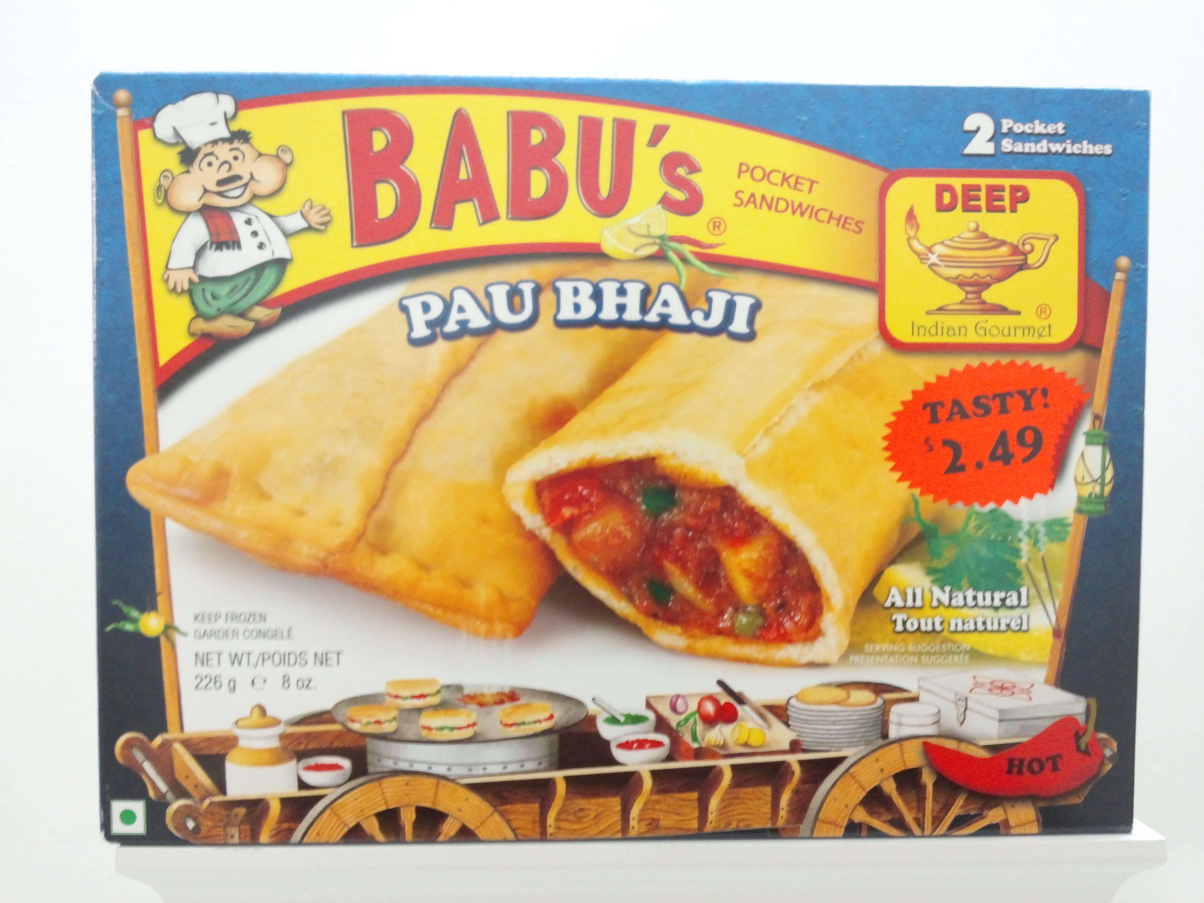 Babu's Pau Bhaji Pocket Sandwich 8 oz