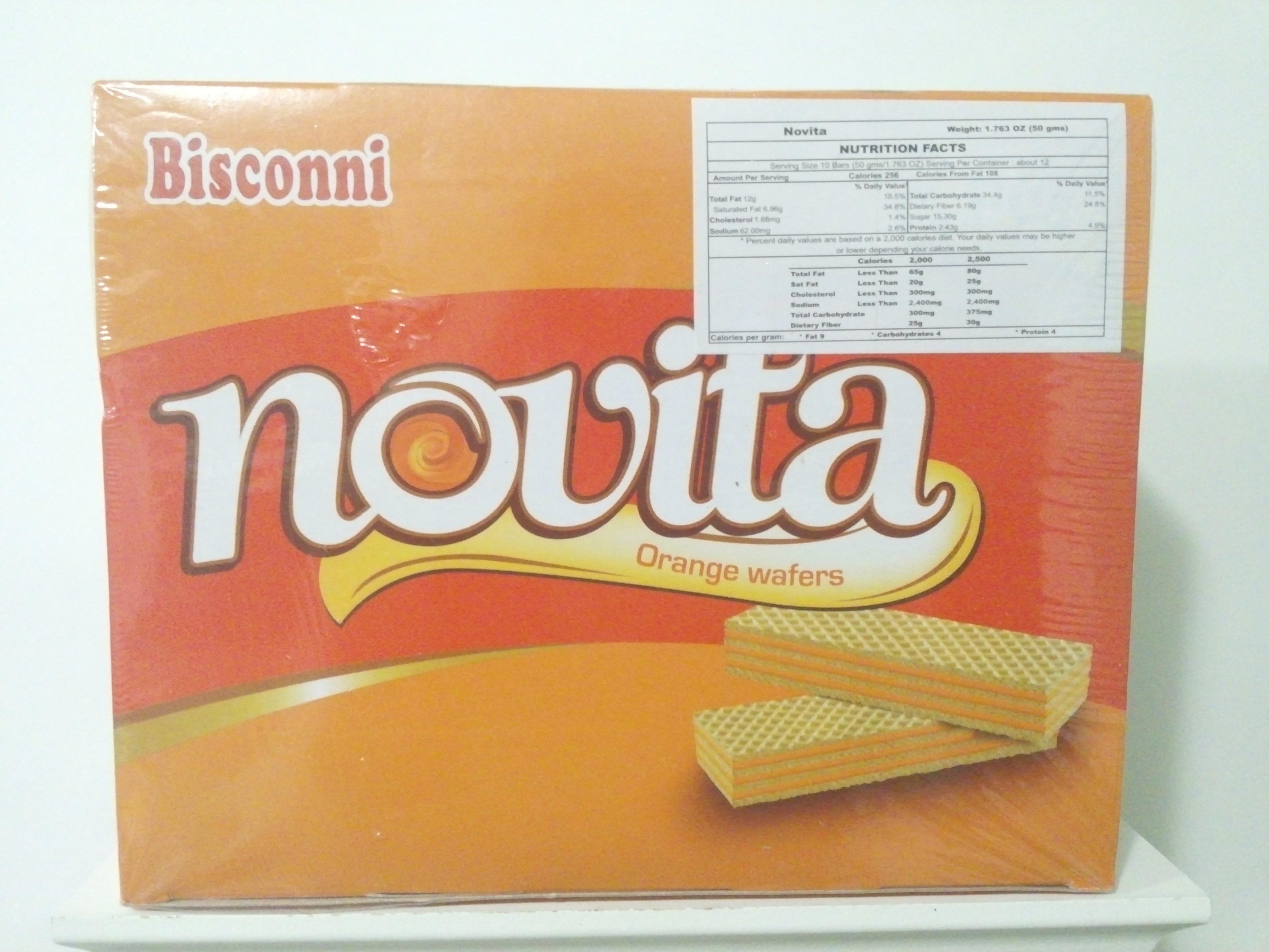 Bisconni Novita Orange Wafers 6 Pcs 1.8 oz