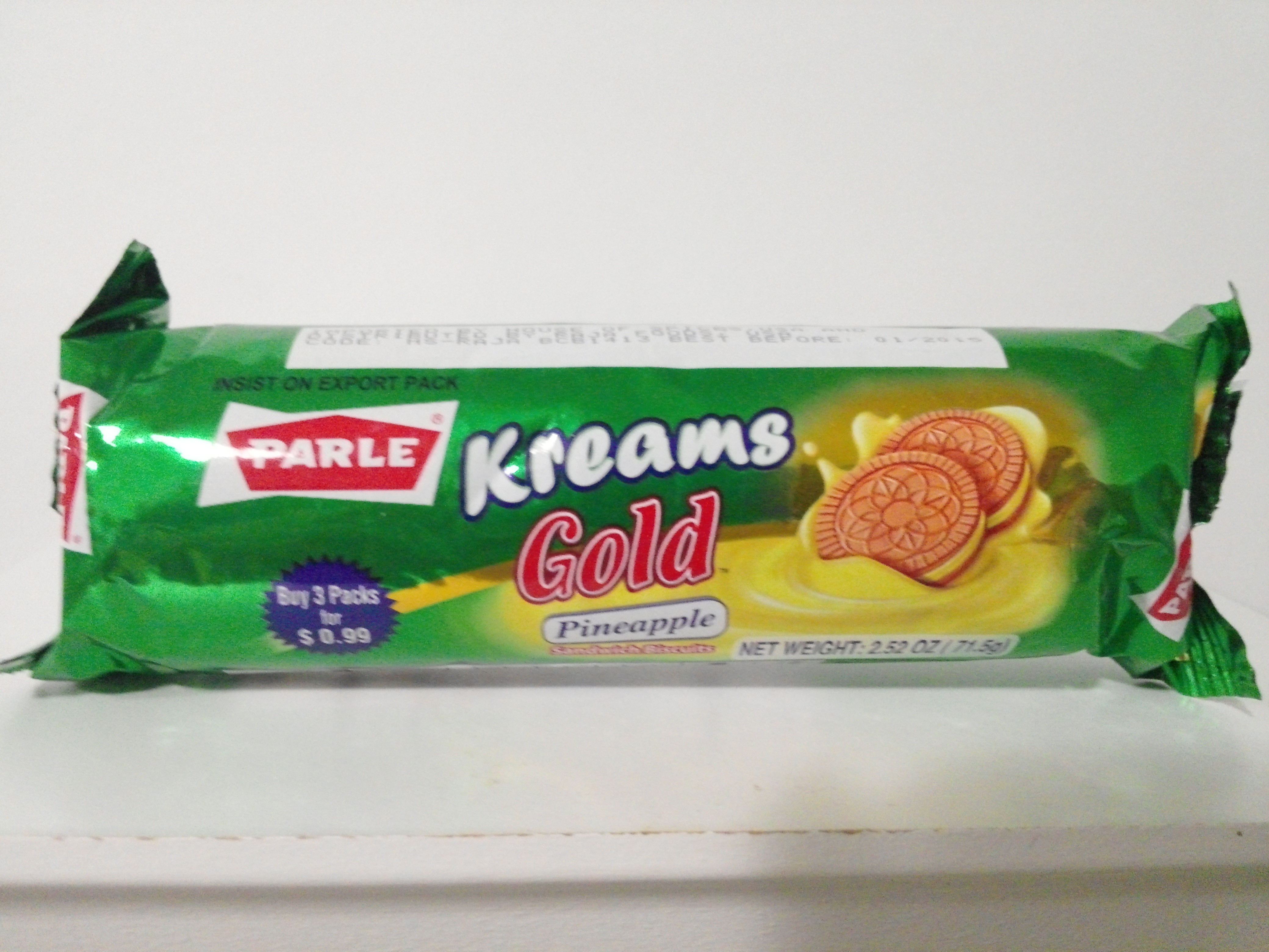 Parle Kreams Gold Pineapple Sandwich Biscuits 2.52 oz