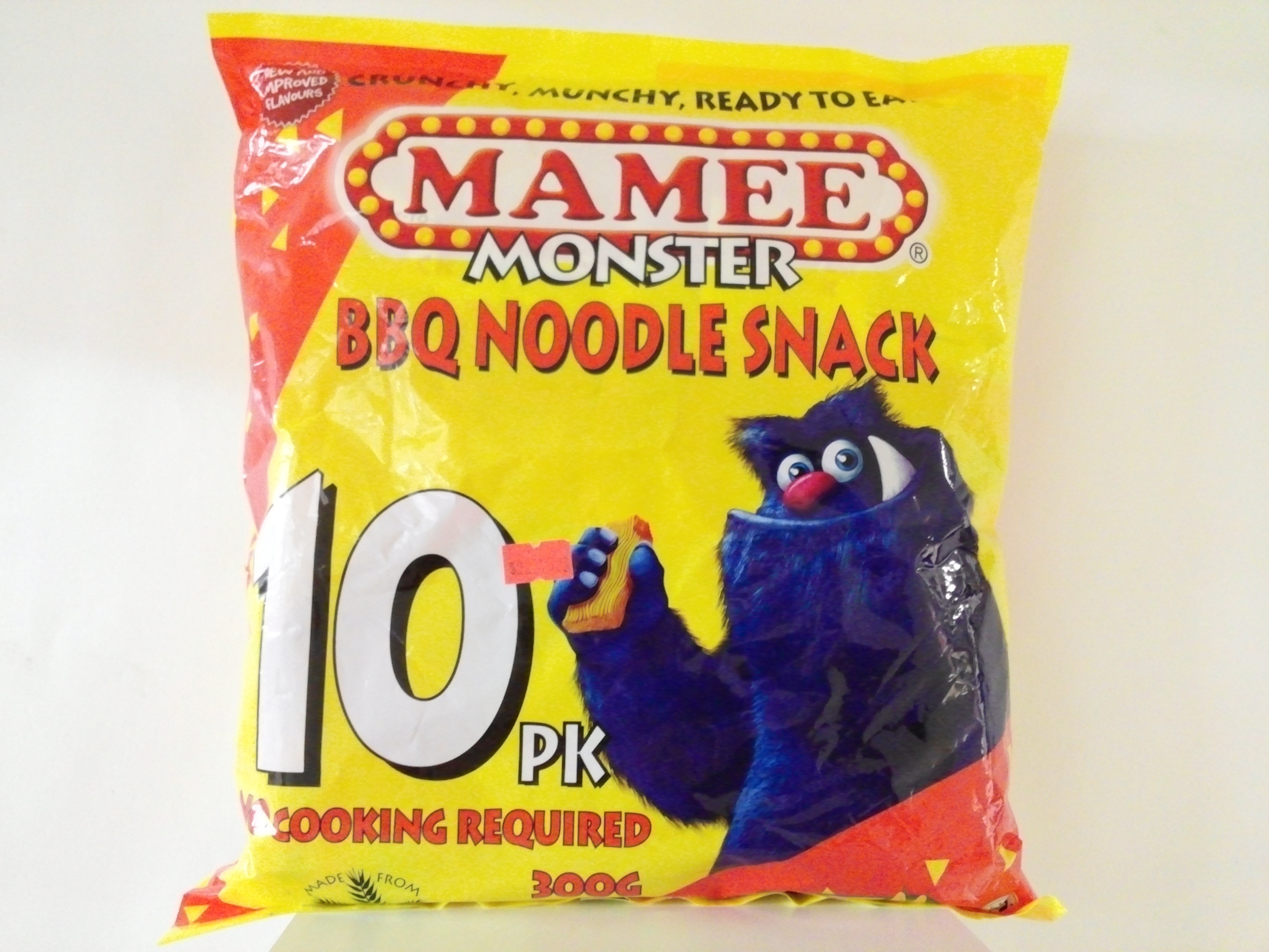 Mamee's Monster BBQ Noodle Snack10 pk - 300 grm